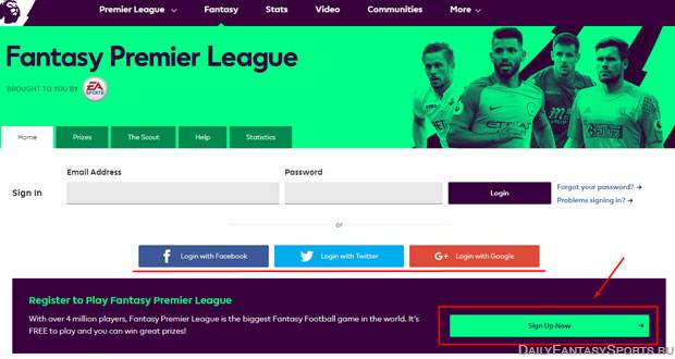 Регистрация в fantasy premier league